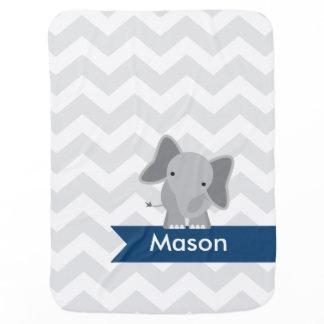 Personalized Gray Navy Blue Chevron Elephant Swaddle Blanket