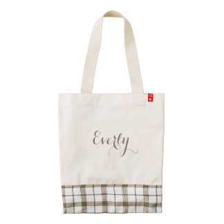 Personalized Gray Plaid Tote