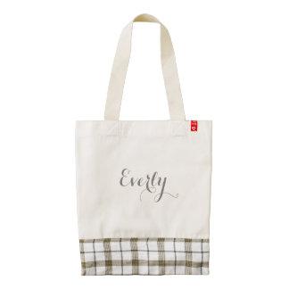 Personalized Gray Plaid Tote Zazzle HEART Tote Bag