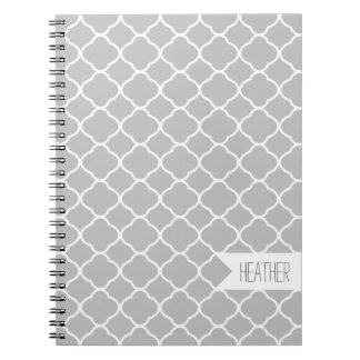 Personalized Gray Quatrefoil Pattern Notebook