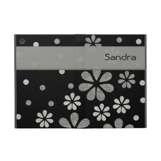 Personalized  Gray Retro Flowers On Black iPad Mini Covers