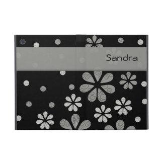 Personalized  Gray Retro Flowers On Black iPad Mini Covers