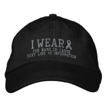 Personalized Gray Ribbon Awareness Embroidery Embroidered Baseball Hat