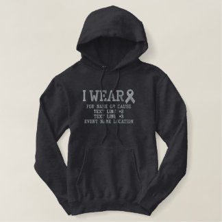 Personalized Gray Ribbon Awareness Embroidery Embroidered Hoodie