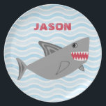 "Personalized Gray Shark Blue Waves Plate<br><div class=""desc"">Personalized gray shark with sharp teeth plate. Gray shark with sharp white teeth against a light blue waves background. Personalized with your child&#39;s name in white font. Cute shark is great for kids who love underwater themes,  killer sharks,  fish and other ocean creatures. Personalized gift for children.</div>"