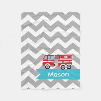 Personalized Gray Teal Chevron Fire Truck Fleece Blanket