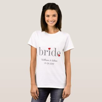 Personalized Gray Text Bride T-shirt