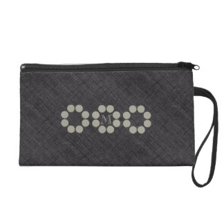 Personalized Gray Textured  Dots Ring Bag Wristlet