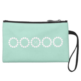 Personalized Gray Textured Pink Dots Ring Bag Wristlet Clutch