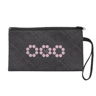 Personalized Gray Textured Pink Dots Ring Bag Wristlet Purse