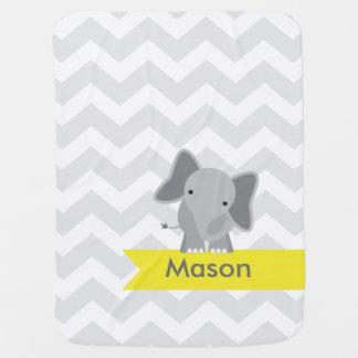 Personalized Gray Yellow Chevron Elephant Baby Blanket