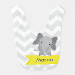 Personalized Gray Yellow Chevron Elephant Bib