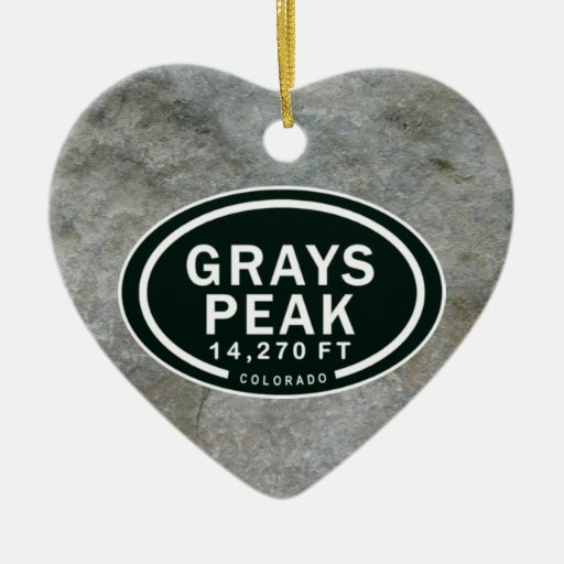 Personalized Grays Peak CO Mountain Heart Ornament