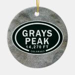 Personalized Grays Peak CO Mountain Ornament