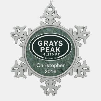 Personalized Grays Peak Colorado Rocky Mountain Snowflake Pewter Christmas Ornament