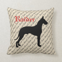 Personalized Great Dane Throw Pillow