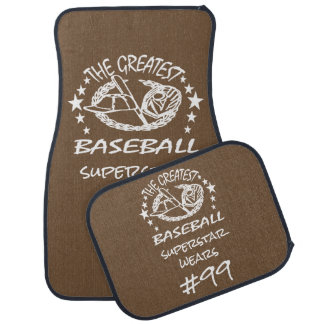 Personalized Greatest Baseball w Ball Bat Glove Car Mat