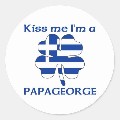 Personalized Greek Kiss Me I'm Papageorge Round Sticker
