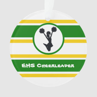 Personalized Green and Gold Cheerleader Ornament