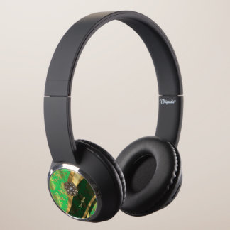 Personalized green and gold damask pattern headphones