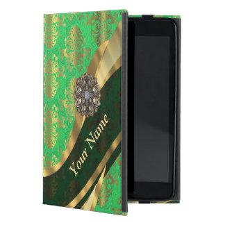 Personalized green and gold damask pattern iPad mini case