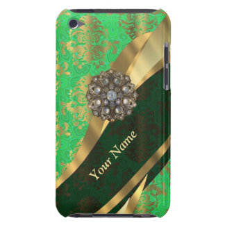 Personalized green and gold damask pattern iPod Case-Mate case