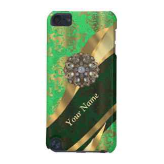 Personalized green and gold damask pattern iPod touch (5th generation) case