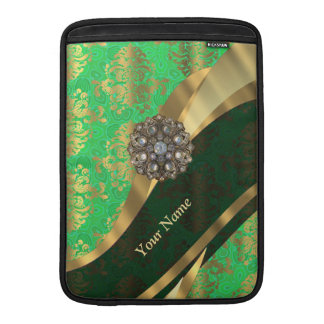 Personalized green and gold damask pattern MacBook sleeve