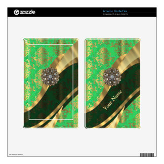 Personalized green and gold damask pattern decal for kindle fire