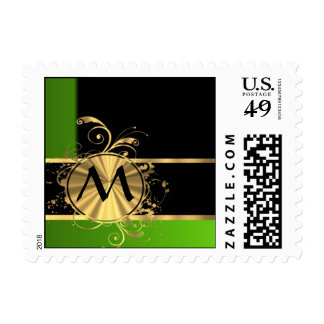 Personalized green and gold monogram stamp
