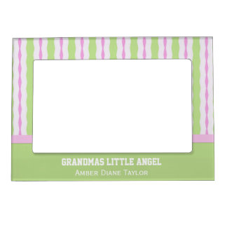 Personalized Green And Pink Striped Magnetic Frame