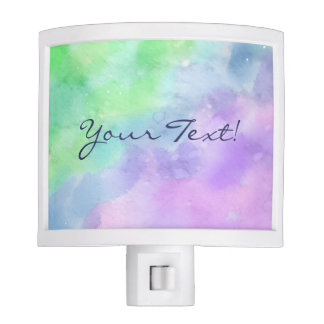 Personalized Green and Purple Watercolor Nite Lights