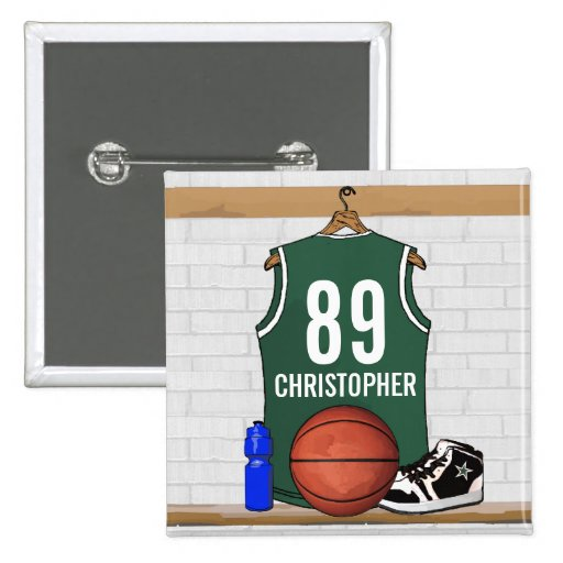 Personalized Green and White Basketball Jersey Pins