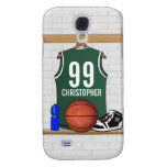 Personalized Green and White Basketball Jersey Galaxy S4 Covers