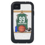 Personalized Green and White Basketball Jersey iPhone4 Case