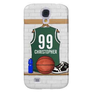 Personalized Green and White Basketball Jersey Galaxy S4 Case