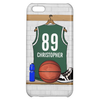Personalized Green and White Basketball Jersey Cover For iPhone 5C