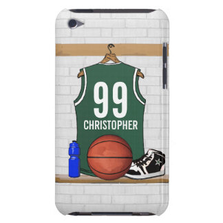 Personalized Green and White Basketball Jersey iPod Case-Mate Case