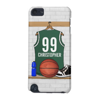 Personalized Green and White Basketball Jersey iPod Touch (5th Generation) Case