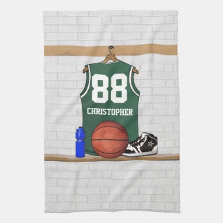 Personalized green and white basketball jersey kitchen towel