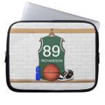 Personalized Green and White Basketball Jersey Computer Sleeve