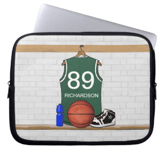 Personalized Green and White Basketball Jersey Laptop Sleeve