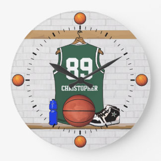 Personalized Green and White Basketball Jersey Large Clock