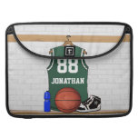 Personalized Green and White Basketball Jersey Sleeves For MacBooks
