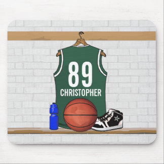 Personalized Green and White Basketball Jersey Mouse Pad