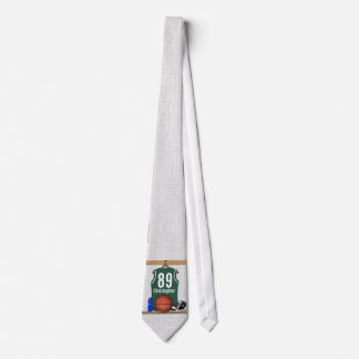Personalized Green and White Basketball Jersey Neck Tie