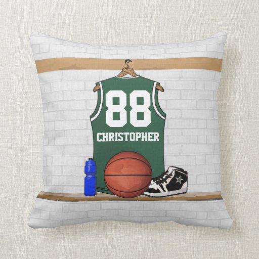 Personalized green and white basketball jersey throw pillows