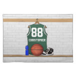 Personalized green and white basketball jersey place mats