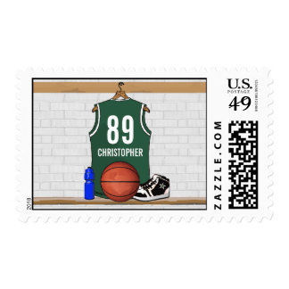 Personalized Green and White Basketball Jersey Postage