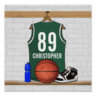 Personalized Green and White Basketball Jersey Poster